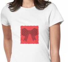 Red Fabric Bow Origami Womens Fitted T-Shirt