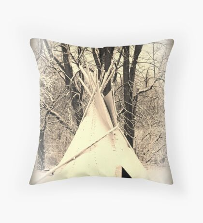 ~ Almost a Dances With Wolves Winter Camp ~ Throw Pillow