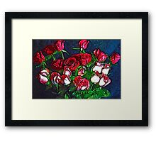 Abstract Red and White Roses Bouquet Framed Print