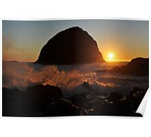 Sunset Behind Sisters Rocks Poster