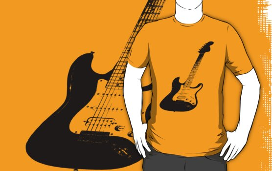 Keep it simple / Black Guitar T-shirt by Ghelly