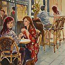 Coffee break, Block Place, Melbourne (1a) by Virginia  Coghill