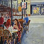 Coffee break, Block Place, Melbourne (2a) by Virginia  Coghill