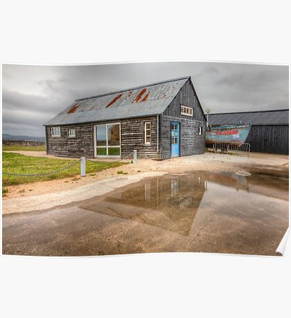 Boat House Reflection Poster