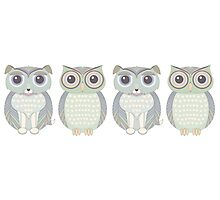 Double Dogs and Owls Blue Photographic Print