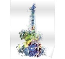 Electric guitar watercolor blue yellow Poster