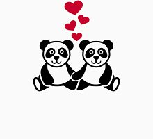 Panda love red hearts Womens Fitted T-Shirt