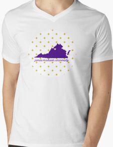 JMU Polka Dots Mens V-Neck T-Shirt