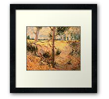 'Trees in a Field on a Sunny Day' by Vincent Van Gogh (Reproduction) Framed Print