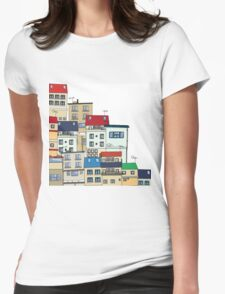 Old slum city cartoon Womens Fitted T-Shirt