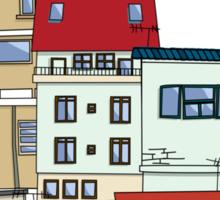 Old slum city cartoon Sticker