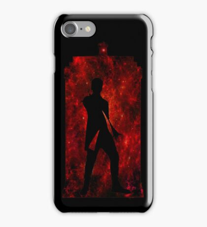 12th Doctor Silhouette Against TARDIS (red) iPhone Case/Skin