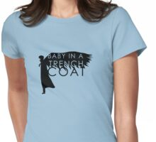 BABY IN A TRENCH COAT Womens Fitted T-Shirt