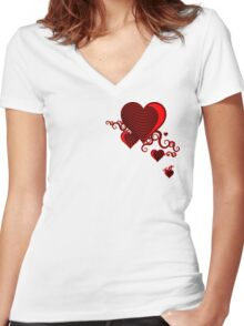 squiggle hearts Women's Fitted V-Neck T-Shirt