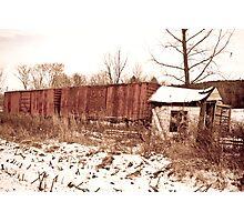 Vintage Box Car Station Photographic Print