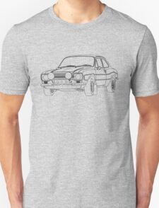 1970 Ford Escort RS2000 Fast and Furious Paul Walker's car Black Outline no fill. T-Shirt