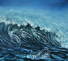 """Dolphin Wave"" - Oil Painting"" by Avril Brand"