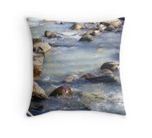 like water over rocks Throw Pillow