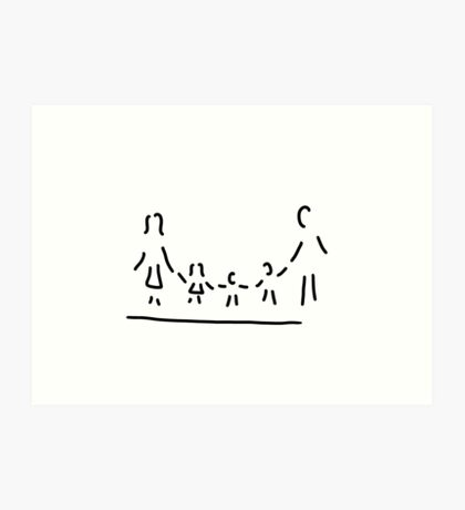 family mother father three children Art Print