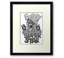FURRY SUPERSTAR - grayscale Framed Print
