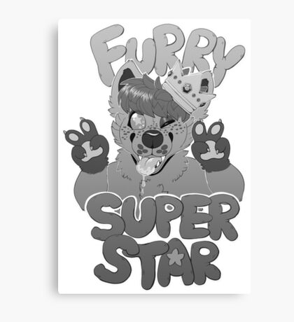 FURRY SUPERSTAR - grayscale Canvas Print