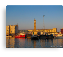 Barcelona-Sunset at the port Canvas Print
