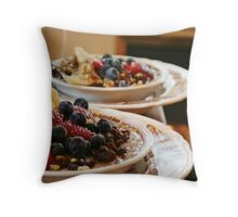 Oatmeal with Fruit and Walnuts Throw Pillow