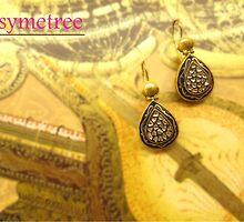 Gold Enamel Work Earring by SymetreeIND