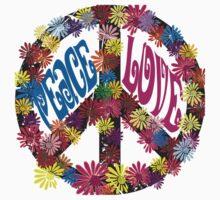 Flower Power Peace & Love Hippie  Tee Shirt Kids Clothes