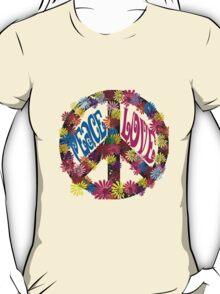 Flower Power Peace & Love Hippie  Tee Shirt T-Shirt