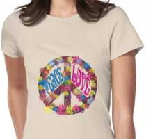 Flower Power Peace & Love Hippie  Tee Shirt Womens Fitted T-Shirt