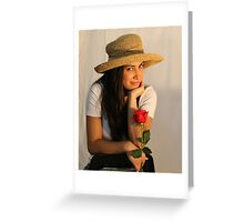Portrait with Rose Greeting Card