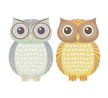 Cool Owl & Friendly Owl by Jean Gregory  Evans