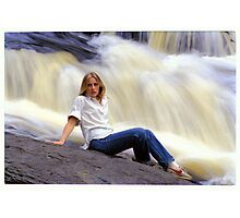 M. with Waterfall Photographic Print