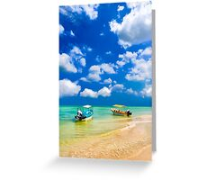 Little Boats On Beautiful Tropical Waters Greeting Card