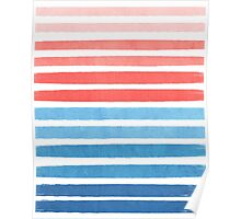 Summer Stripe - Nautical, classic, blue, red, pink, trendy cell phone case Poster