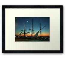 Sailship Lights at Sunset Framed Print