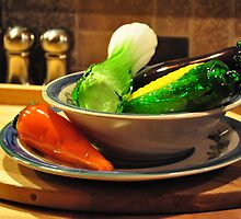 Bowl of Glass Veggies by Jay-Anne