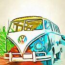 Vw Bus Pop Art 5 by Edward Fielding