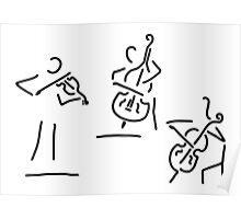 violinist cellist string player contrabass Poster