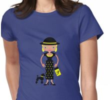 French Chic girl with poodle Womens Fitted T-Shirt