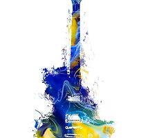 Guitar Yellow Blue by JBJart
