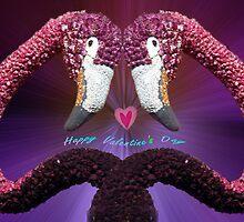 Pink Flamingo pair by Bev Pascoe