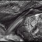 Indian Canyons 11: Andreas Creek Waterfall B&W Version by Roger Passman