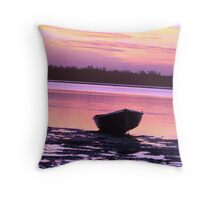 Little Purple Boat Sunset Throw Pillow
