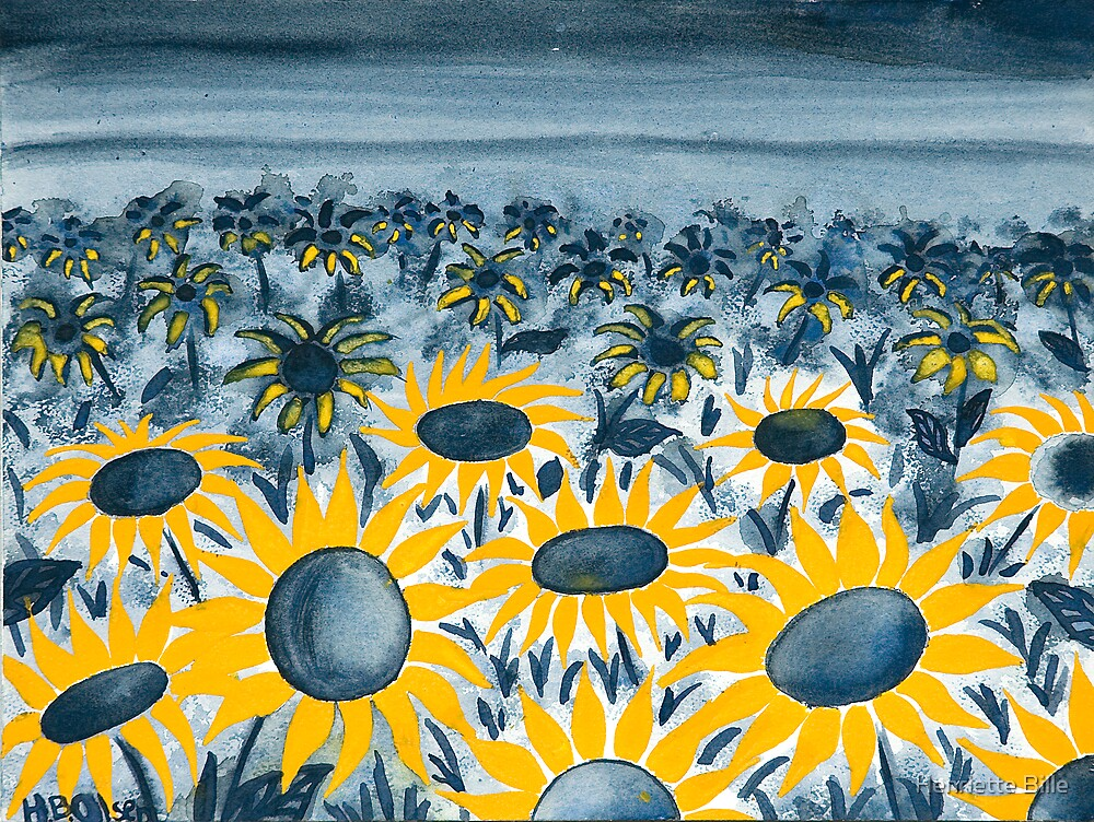 Clouds over a sea of sun craving faces by Henriette Bille