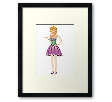 Blonde girl in spring dress Framed Print