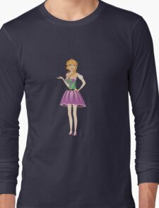Blonde girl in spring dress Long Sleeve T-Shirt