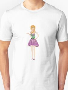 Blonde girl in spring dress T-Shirt