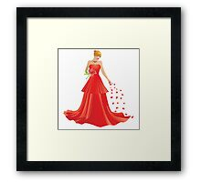 Blonde girl in Red dress Framed Print